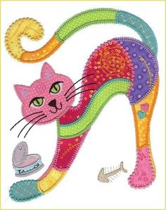 16 Ideas Embroidery Cat Pattern Manualidades For 2019 Sewing Appliques, Applique Patterns, Applique Quilts, Applique Designs, Embroidery Applique, Quilt Patterns, Machine Embroidery, Embroidery Designs, Embroidery Patches