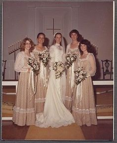 Vintage 1982 Color Photo Pretty Girls Bride Bridemaids Wedding Day Dress 564261