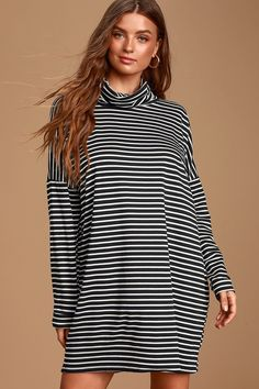 Love every moment in the Lulus Abington Black and White Striped Cowl Neck Mini Dress! Soft jersey knit dress with a cowl neckline and long dolman sleeves. Sweater Dresses, Casual Dresses, Jersey Knit Dress, Cowl Neck Dress, Large Size Dresses, Striped Dress, Neckline, Black And White, Medium