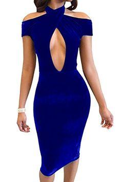 Aecibzo Women's Sexy Halter Bodycon Midi Dress Velvet Clu... https://www.amazon.com/dp/B0712265D7/ref=cm_sw_r_pi_dp_x_RnfkzbX71CW9P