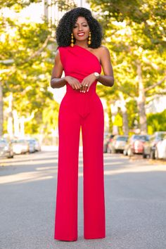 Style Pantry | Red One Shoulder Drape Jumpsuit