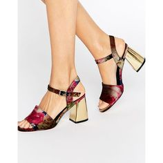 ASOS HOLYWELL Velvet Heeled Sandals found on Polyvore featuring polyvore, women's fashion, shoes, sandals, multi, asos shoes, peep-toe shoes, peep toe shoes, velvet shoes and asos sandals