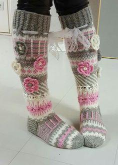 Long wool women ladies socks, Anelmaiset socks, warm winter knitted over the knee socks, striped, colourful knee length / high socks prefer without extra roses. Crochet Leg Warmers, Crochet Slippers, Knit Crochet, Thigh High Boots Heels, Knee High Socks, Heel Boots, Knitting Patterns, Crochet Patterns, Knit Boots