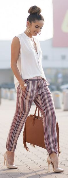 Patterned pants are a cool and comfy way to add some pizazz to a simple top.