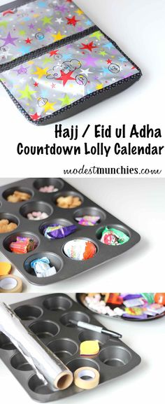 An easy muffin pan Hajj / Eid Lolly Countdown Calendar . This an advent calendar style countdown to the Eid and the end of Hajj. Mexican Birthday Parties, Paper Box Template, Countdown Calendar, Embroidery On Clothes, Holiday Crafts For Kids, Happy Eid, Quilt Festival, Candy Party, Diy Box
