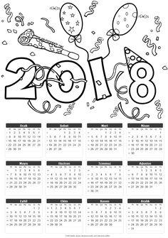 2018 takvim kalıbı boyama