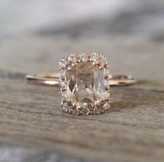 1.83 Cts.Golden Peach Sapphire Diamond Halo Ring in 14K Rose Gold on Etsy, $1,675.00