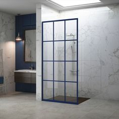 NEW Gridscape COLORIZE- Available in eight vibrant colors - Fandango, Royalty, Mango Tango, Sapphire, Keppel, Forevergreen, Matchtip and Citrine Available for any Gridscape® Series Shower Doors #Showerdesign #bathroomdesign #Designinspo