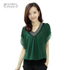 Tops Fashion Summer Blouse 2017 Plus size Solid Chiffon Shirt Women Temperament Diamond V-neck Cllar Short Sleeve blusas mujer #Affiliate