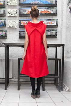 Womens Red Dress, Loose Dress, Casual High Collar Dress Loose Fitting Maxi Dress - Maternity clothes in Red by myfigura on Etsy https://www.etsy.com/uk/listing/252770354/womens-red-dress-loose-dress-casual-high
