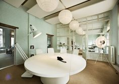 Design Office Creative Workspace of Parasol Island No glass. home office space design Fun Office Design, Creative Office Space, Workplace Design, Cool Office, Office Spaces, Office Ideas, Corporate Interiors, Office Interiors, Corporate Offices
