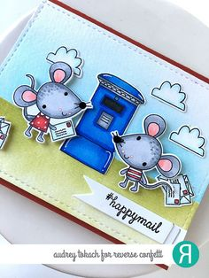 Card by Audrey Tokach. Reverse Confetti stamp set and Confetti Cuts: Mouse Mail. Friendship card. Encouragement card.