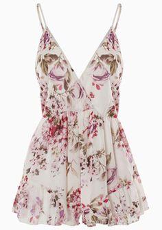 Floral Sleeveless Jumpsuit Shorts