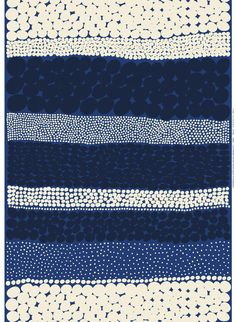 Marimekko blue Jurmo cotton fabric yard, sold by half yard, Finland ~ half yard, x (bigger pieces available). The fabric in the main picture is about 2 yards long. machine washable in warm water. Textiles, Textile Design, Fabric Design, Designer Textile, Fabric Patterns, Print Patterns, Pattern Paper, Marimekko Fabric, Types Of Curtains