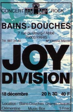 Joy Division in Paris. Tour Posters, Band Posters, Music Posters, Joy Division, New Wave, Hard Rock, Concert Rock, Ian Curtis, New Flyer