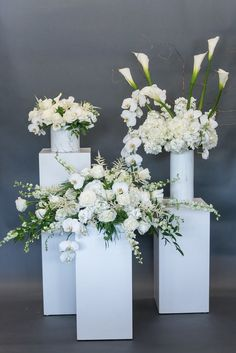 White Roses, Greenery, Calla, Eucalyptus, White Orchids, White Flower Arrangement, Wedding, Wedding Flowers