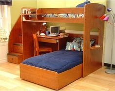 win over Twin L-Shaped Bunk Bed with Desk