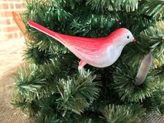 Antique Vintage Celluloid Red White Bird Christmas Ornament, Claws Grip Branch!