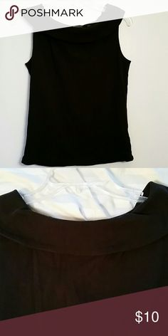 Black scooped neck tank Previously worn item in good condition.  Scoop neck with collar. T-shirt material. Very comfortable and can be casual or dressy. Rafaella Tops Tank Tops