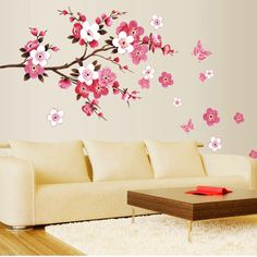 Hot Wholesale 3D Room Peach Blossom Flower Butterfly Wall Stickers Vinyl Art Decal Decor Mural #Affiliate