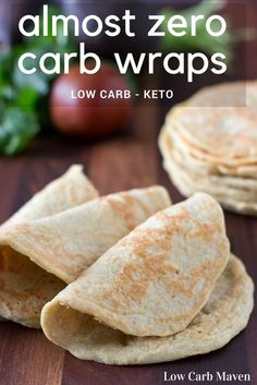 Almost Zero Carb Wraps are great as soft tortilla shells or as low carb sandwich wraps. Only 1 net carb in 2 wraps! This amazing recipe is Low Carb, Gluten-free, Primal, Keto and THM! Low Carb Wraps, Ketogenic Recipes, Low Carb Recipes, Cooking Recipes, Diabetic Recipes, Ketogenic Diet, Diabetic Desserts, Diet Recipes, Clean Eating