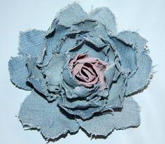 Denim flower with pink suede center