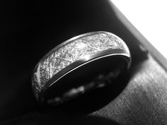 Brushed Meteorite Ring, Meteorite Tungsten Wedding Band, Men Women Engagement Rings by Rings Paradise, 6mm