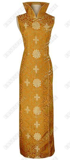 Plus size yellow silk cheongsam