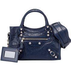 Balenciaga Giant 12 Nickel City Mini Satchel Bag (€1.325) ❤ liked on Polyvore featuring bags, handbags, blue, blue purse, studded handbags, mini satchel, blue handbags and tote purses