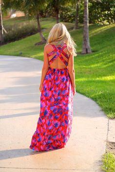Maxi Dress -  Pink Floral  + Back Detail
