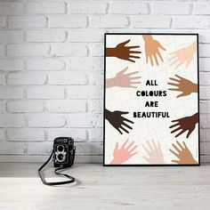 Anti discrimination poster, No racism printable, Diversity Hands Political wall art Hands multicolour Friendship gift Modern poster decor