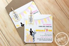 Stamp Away With Me  circus party invitations