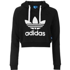 Cropped Hoodie by Adidas Originals (925 ARS) ❤ liked on Polyvore featuring tops, hoodies, shirts, jackets, sweaters, cotton shirts, cropped shirts, hooded pullover, adidas trefoil shirt and hoodie crop top