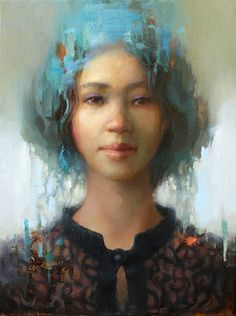 """""""One's eye II"""" - Taeil Kim, oil on canvas {contemporary figurative #impressionist art beautiful female head abstract blue hair woman face portrait painting} Satisfaction!!"""