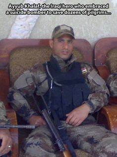 An unquestionable hero. This Iraqi police officer wrapped his arms around a suicide bomber right before detonation to save many.