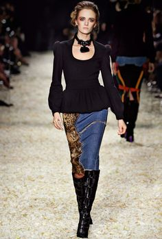 Look 6 from the TOM FORD AW15 Womenswear Collection #TOMFORD | Peplum top with scoop neckline, denim trouser skirt, patchwork knee high boot, rope choker with flowers and stone.