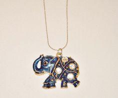 Elegant Blue Elephant Necklace by AmberCheremsak on Etsy