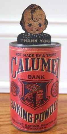 Vintage Tin Advertising Calumet Baking Powder Bank with Baby Face Nodder - face nods when you put money in!