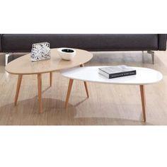 VITRINE - ARGENTIER STONE Lot de 2 tables basses - Taupe et blanc laqué