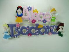 Nome Em Feltro Alice e Isadora | Lili Mosaico & Artesanato | 3357E2 - Elo7