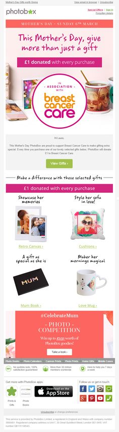 Mother's Day email from Photobox including charity donation banner, product recommendations and social media competition #MothersDay #EmailMarketing #Newsletter #Recommendations #SocialMedia #Competition