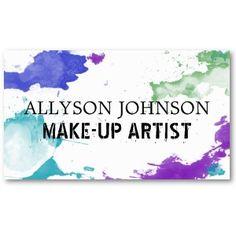 Colorful Splatter Make-up Artist Business Cards