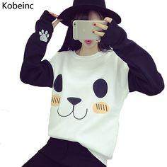 New College Wind Women Hoodies Fashion Cartoon Panda Sweatshirts Casual Printed Mixed Color Harajuku Tracksuits Female Sudaderas * Podrobnuyu informatsiyu mozhno nayti, nazhav na izobrazheniye.