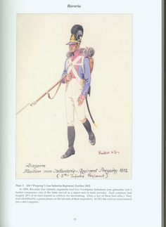 """The Confederation of the Rhine - Bavaria: Plate 7. 5th (""""Preysing"""") Line Infantry Regiment, Fusilier, 1812"""