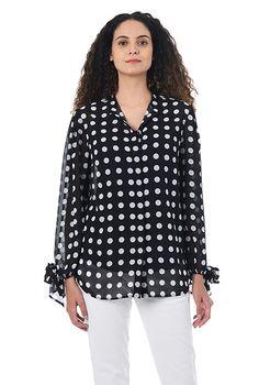 I <3 this Tie cuffs polka dot print georgette shirt from eShakti