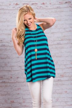 Not A Day Goes By Tunic, Navy || Not a day goes by that you won't think about this tunic! The navy and teal striped look so good together! Plus, you can already tell just by looking at it that it's super comfy and easy to wear!