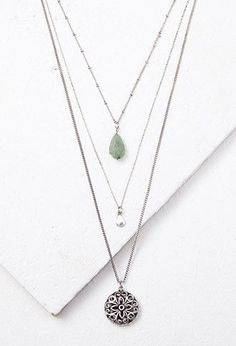 Layered Mixed Pendant Necklace | Forever 21 - 1000157679 Supernatural Style
