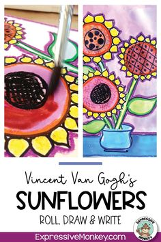 Learn to draw a vase of sunflowers while learning about the artist Vincent van Gogh. A fun way to bring your art history lesson to life! History Lessons For Kids, Art Lessons For Kids, Art Activities For Kids, Art Lessons Elementary, Art For Kids, Art Sub Plans, Art Lesson Plans, Art Classroom Management, Art Criticism