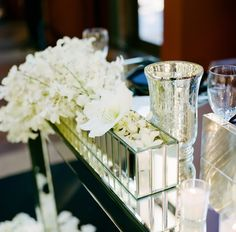 Formal Modern Classic // White orchid and irises in centerpieces