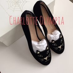 Charlotte Olympia kitty flats 5/18/15 HP effortless chic party! Worn once (see second photo for slight wears) otherwise in pristine condition ... This is an 8.5 but to me fits more like an 7.5 which is why Im selling! Always been stored in dust bags (see photo) and original box, they're practically brand new. I'm open to negotiation.. Give me your best offer! Charlotte Olympia  Shoes Flats & Loafers